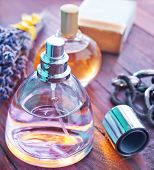 stock photo of perfume  - perfume for woman on the wooden table - JPG