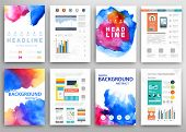 foto of placard  - Set of Vector Poster Templates with Watercolor Paint Splash - JPG