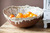 foto of satsuma  - Citrus Bowl Handmade ceramic bowl filled with oranges - JPG