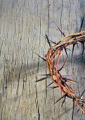 stock photo of crown-of-thorns  - crown of thorns on old wooden background - JPG