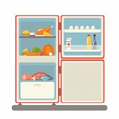 stock photo of refrigerator  - outdoor refrigerator with food products icon flat design vector illustration - JPG