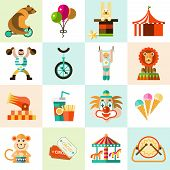 picture of circus clown  - Circus entertainment flat icons set with tent clown balloons isolated vector illustration - JPG