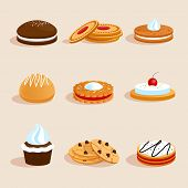 pic of biscuits  - Sweet sugar chocolate biscuit cookies decorative icons set with cream and cherry decoration isolated vector illustration - JPG