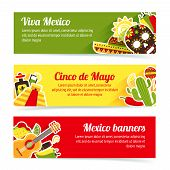 pic of pinata  - Mexico style culture building travel horizontal banner set isolated vector illustration - JPG