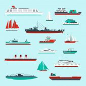 stock photo of passenger ship  - Ships and boats cargo cruise and container marine transport decorative icons colored set isolated vector illustration - JPG