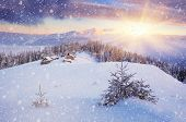 image of shepherds  - Beautiful Christmas landscape - JPG