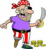 image of peg-leg  - Cartoon illustration of a smiling pirate with a peg leg holding a sword - JPG