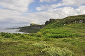 stock photo of kilt  - Cliffs south of Kilt Rock Staffin Isle of Skye - JPG