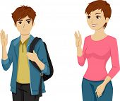 picture of pre-teen boy  - Illustration Featuring a Teenaged Boy Waving Goodbye to His Mom - JPG