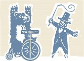 picture of tricycle  - Woodcut style image of a circus bear on a tricycle with a ringmaster - JPG