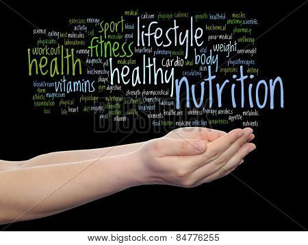 Concept or conceptual abstract word cloud man hand on black background, metaphor to health, nutritio
