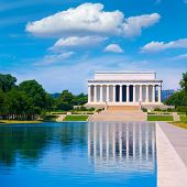 picture of abraham  - Abraham Lincoln Memorial reflection pool Washington DC US USA - JPG