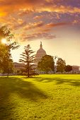 stock photo of capitol building  - Capitol building Washington DC sunset garden USA US congress - JPG