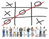 foto of tic  - Tic Tac Toe Game Competition XO Win Challecge Concept - JPG
