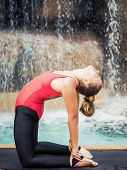 picture of camel  - Woman practicing yoga near waterfall - JPG