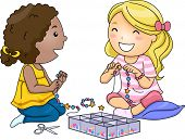 picture of beads  - Illustration of Little Girls Making Accessories With Colorful Beads - JPG