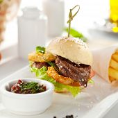 pic of fried onion  - Sandwich with Beef and Deep Fried Onions Ring - JPG