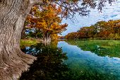 picture of crystal clear  - Beautiful Fall Foliage Surrounding the Crystal Clear Frio River at Garner State Park - JPG