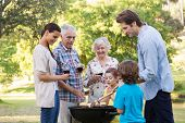 foto of extended family  - Extended family having a barbecue on a sunny day - JPG