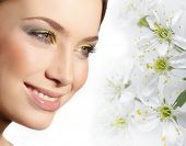 image of  lips  - closeup portrait of attractive  caucasian smiling woman brunette isolated on white studio shot lips toothy smile face closeup makeup head  tooth eyes spring flowers - JPG