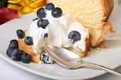 foto of pound cake  - Slice of pound cake with whipped cream topped with blueberries and flowers in the background - JPG