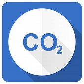 stock photo of carbon-dioxide  - carbon dioxide blue flat icon co2 sign  - JPG