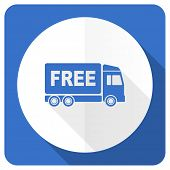 foto of free-trade  - free delivery blue flat icon transport sign  - JPG