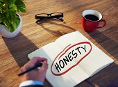 foto of honesty  - Man with Note Pad and Honesty Concept - JPG