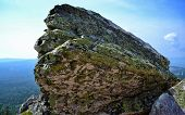 pic of lichenes  - ancient stone covered with lichens on Mount Alexander hill - JPG