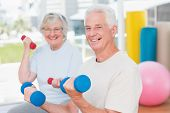 stock photo of senior class  - Portrait of happy senior couple lifting dumbbells in gym - JPG