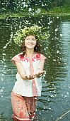 picture of undine  - girl in russian traditional clothes in river - JPG