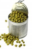 picture of peas  - Opened tin with green peas and some spilled peas - JPG