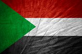 picture of sudan  - Sudan flag or Sudanese banner on wooden texture - JPG