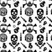 pic of skull crossbones  - Seamless pattern with image of skull and crossbones with a helmet.  Black print on a white background. - JPG