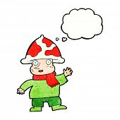 pic of magical-mushroom  - cartoon mushroom man with thought bubble - JPG