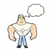 image of body builder  - cartoon body builder with thought bubble - JPG