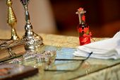 stock photo of baptism  - Table for baptism before christening a little boy - JPG