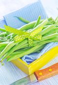 picture of green bean  - green beans on wooden board, raw beans