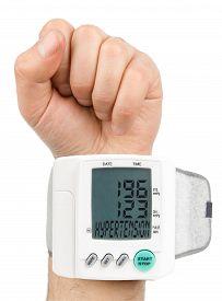 picture of hypertensive  - Digital Hypertension blood pressure monitor  high quality studio photo shoot - JPG