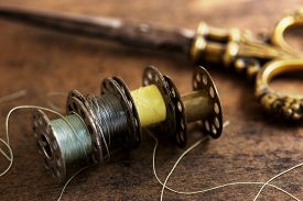 picture of apparel  - Vintage sewing machine bobbins with vintage gold  - JPG