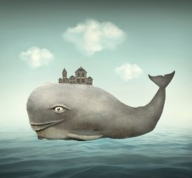 pic of fairy tail  - Surreal illustration of a whale in the ocean with some houses in his back - JPG