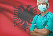 picture of albania  - Surgeon with flag on background conceptual series  - JPG