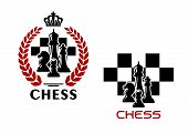 stock photo of chessboard  - Chess heraldic emblems with black silhouettes of kings - JPG