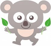 stock photo of eucalyptus leaves  - Cute baby koala with gray fur - JPG
