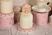 stock photo of ombres  - Capture of delicious mini cakes with icing - JPG