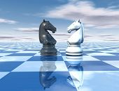 image of chessboard  - beautiful blue reflective abstract background with chess horses white and black chessboard and sky - JPG