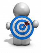 pic of objectives  - 3d cartoon person reaching the goal objective concept illustration isolated - JPG