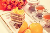 foto of pound cake  - Capture of Delicious creamy cake with lemon - JPG