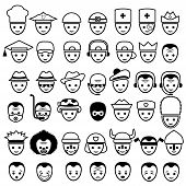 picture of clown face  - Vector set of face icons isolated on white background - JPG