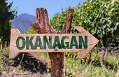 picture of penticton  - Okanagan wooden sign with winery background - JPG